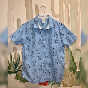 Snoopy button down short sleeved shirt